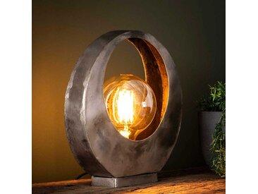 Design Tischlampe in Altsilberfarben Metall