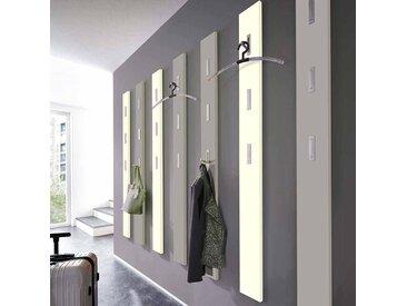 Garderobenpaneel in Creme Weiß Klapphaken