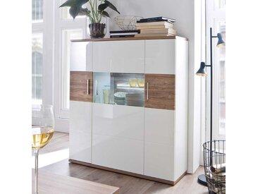 Wohnzimmer Highboard in Weiß hochglänzend und Eiche Dekor 120 cm breit