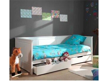 Kinder Schubladenbett aus Kiefer Massivholz und MDF Weiß