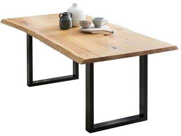 Baumkanten Küchentisch aus Eiche Massivholz Bügelgestell aus Metall