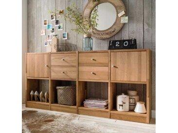 Regal aus Wildeiche Massivholz mit Türen und Schubladen