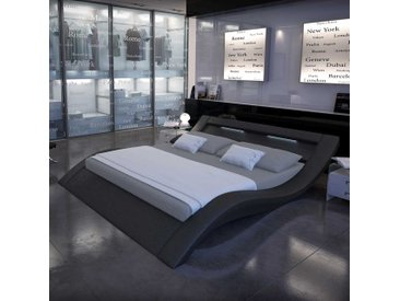 Designbett in Schwarz Kunstleder LED Beleuchtung