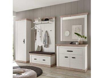 Landhaus Garderobe in Weiß Kieferfarben (5-teilig)