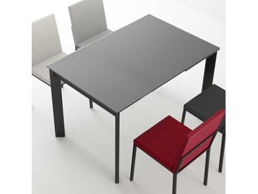 Esstisch mit Schwarzglasplatte Kulissenauszug