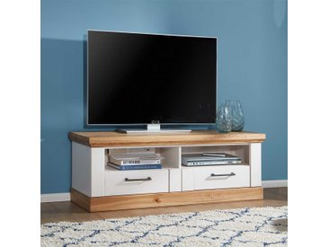 TV Board in Weiß und Eiche massiv Landhaus Design