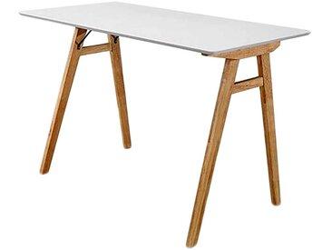 Designschreibtisch in Weiß und Holz Naturfarben Skandi Style