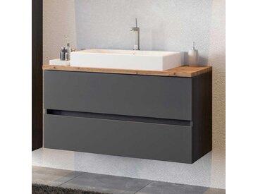 Waschtischunterschrank in Dunkelgrau und Wildeiche Optik Aufsatz-Waschbecken