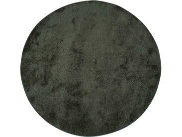 Runder Teppich in Dunkelgrün Kurzflor 120 cm Durchmesser