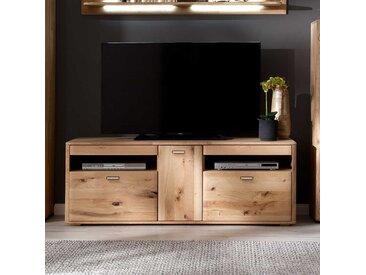 TV Bank Massivholz in Eiche Bianco 156 cm breit
