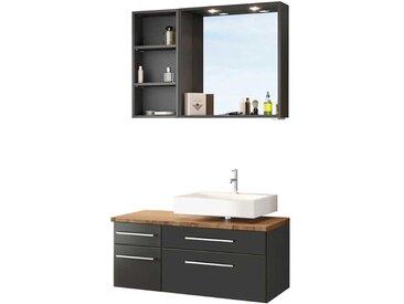 Waschtischkommode mit Badspiegel Regal (3-teilig)