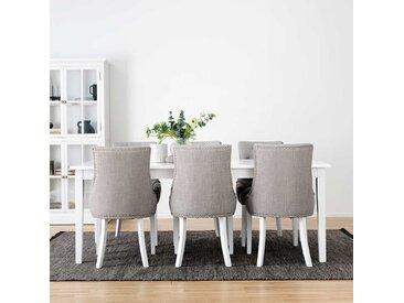 Esszimmer Sitzgruppe Landhaus in Weiß und Grau sechs Sitzplätzen (siebenteilig)