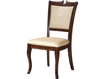 Stühle im italienischen Design Beige und Walnussfarben (2er Set)