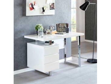 Hochglanz Schreibtisch in Weiß und Chromfarben mit