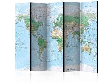 Spanischer Raumteiler mit geografischer Weltkarte 225 cm breit