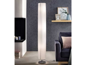 Stehlampe in Weiß und Chromfarben Latexschrim