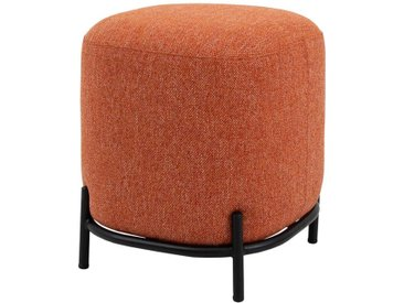 Pouf in Ziegel Rot Webstoff modern