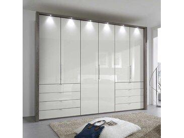 Schlafzimmer Kleiderschrank mit Faltüren und Schubladen Creme Weiß