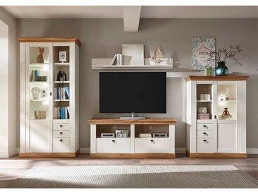TV Wohnwand in Weiß und Wildeichefarben Landhausstil (4-teilig)