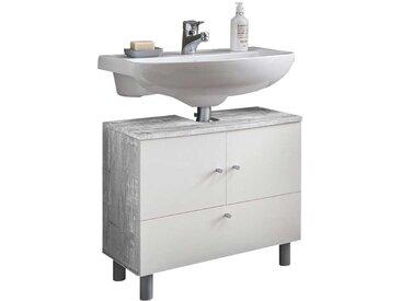 Waschtischunterschrank in Grau Beton Optik Weiß
