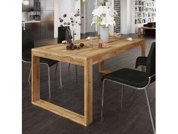 Esszimmertisch aus Wildeiche Massivholz Büegelgestell