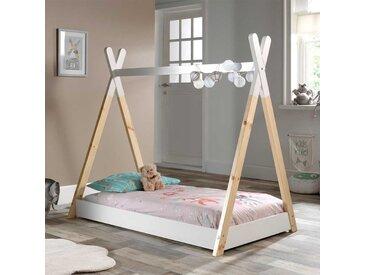 Kleinkinderbett im Tipi Zelt Design Kiefer Massivholz in Weiß