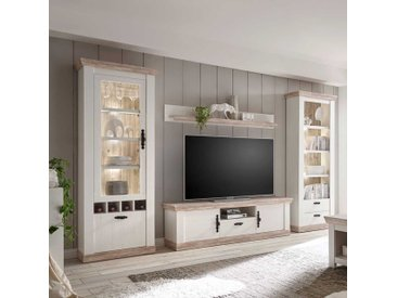 Wohnzimmer Schrankwand im Landhaus Design Kiefer Weiß (4-teilig)