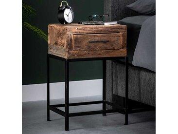 Nachttisch aus Recyclingholz und Metall Industriedesign