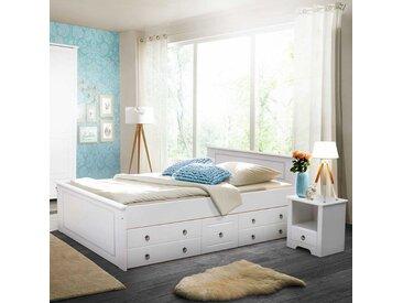 Komfortbett in Weiß Kiefer massiv Schubkästen (dreiteilig)