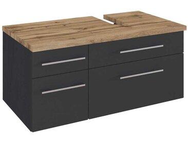 Waschtischunterschrank mit Schubladen dunkel Grau und Wildeiche Dekor
