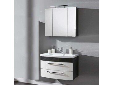 Möbelset für Badezimmer Anthrazit Weiß Hochglanz (2-teilig)