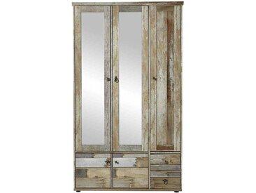 Garderobenschrank in Grau Treibholz Dekor Spiegeltüren