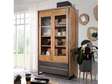Standvitrine aus Wildeiche Massivholz und Metall Loft Design