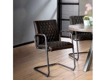 Freischwinger Stühle in dunkel Braun und Grau Armlehnen (2er Set)