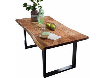 Baumkantentisch aus Akazie Massivholz und Metall Nussbaumfarben