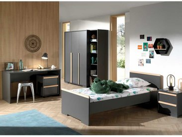 Jugendzimmer in Anthrazit und Buche modern (6-teilig)