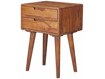 Nachttisch Set aus Sheesham Massivholz zwei Schubladen