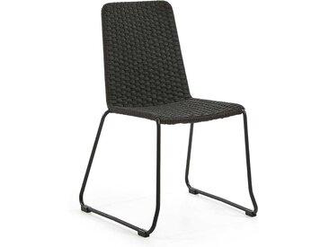 In- und outdoor Flechtstühle in Dunkelgrau Kordel Geflecht und Stahl (4er Set)