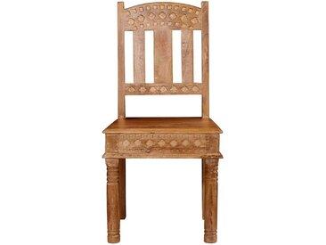 Holzstühle aus Mangobaum Massivholz gedrechselt und geschnitzt (2er Set)