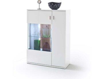 Wohnzimmer Highboard in Weiß und Wildeiche Optik Glastür