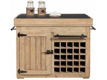 Spülenunterschrank mit Flaschenfächern Kiefer Recyclingholz