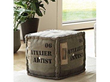 Design Sitzpouf in Grau Webstoff Würfelform
