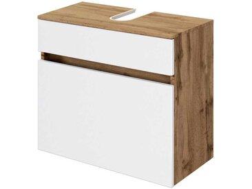 Waschtischschrank in Weiß und Wildeiche Optik 60 cm breit