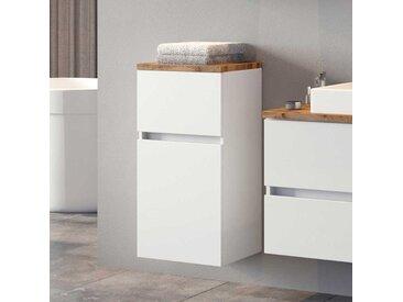 Badezimmer Unterschrank in Weiß und Wildeiche Optik 40 cm breit