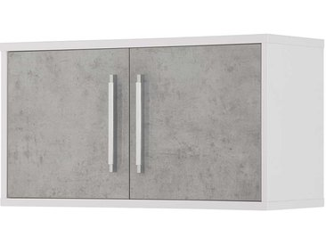 Büro Oberschrank in Weiß und Grau 80 cm breit