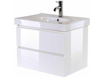 Waschkommode in Hochglanz Weiß Keramikbecken