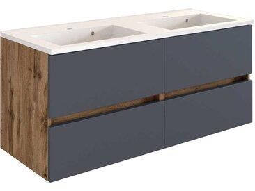 Waschtischunterschrank in Dunkelgrau und Wildeiche Optik Doppelwaschbecken