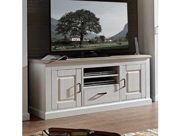 TV Unterschrank in Weiß Taupe skandinavischer Landhausstil