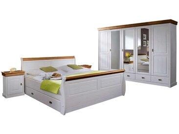 komplett Schlafzimmer in Weiß Honigfarben (4-teilig)