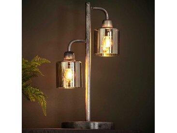 Design Tischleuchte in Altsilberfarben Metall und Glas